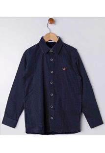 Camisa Manga Longa Juvenil Para Menino - Azul Marinho