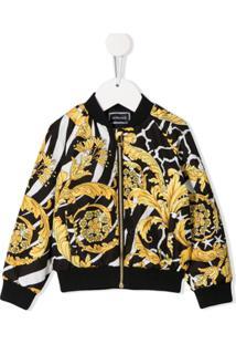 Young Versace Baroque Print Bomber Jacket - Preto
