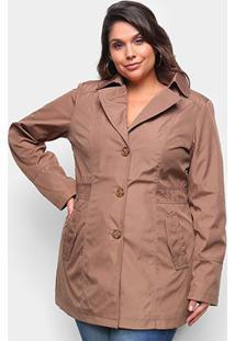 Jaqueta City Lady Plus Size Trench Coat Feminina - Feminino-Marrom Claro