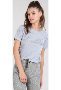 "Blusa Feminina Esportiva Ace ""Just Do Nothing"" Manga Curta Decote Redondo Cinza"