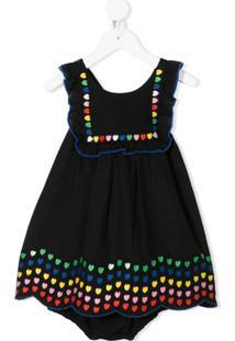 Stella Mccartney Kids Vestido Com Estampa De Coração - Preto