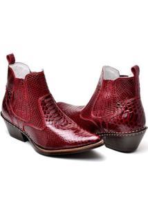Bota Country Top Franca Shoes Bico Fino Masculina - Masculino-Vermelho