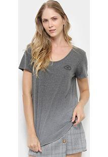 Camiseta Colcci Estampa Floral Feminina - Feminino-Cinza