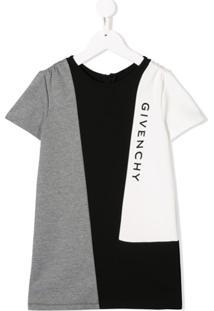 Givenchy Kids Vestido Com Estampa Geométrica E Logo - Cinza