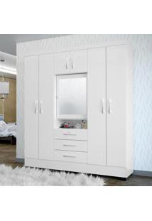 Guarda-Roupa 7 Portas Com Espelho Grafite Branco - Colibri Móveis