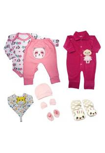 Kit 8 Pçs Roupa Para Bebê Enxoval Body Mijão Menino E Menina Azul