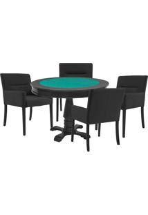 Mesa De Jogos Carteado Victoria Redonda Tampo Reversível Preto Com 4 Cadeiras Vicenza Preto Fosco - Gran Belo
