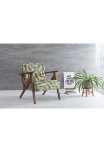 Poltrona Decorativa Anis Verniz Capuccino Tec.S1865 Folhas Verdes 72X76X85 Cm