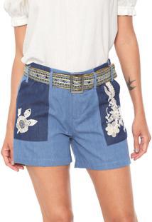 Short Jeans Desigual Bordado Azul