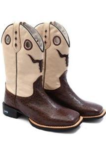 Bota Couro Texana Recortes Blaqueada Country Masculina - Masculino