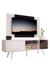 Rack Madesa Cairo E Painel Para Tv Até 58 Polegadas Com Pés De Madeira Branco/Preto 09C7 Cor:Branco/Preto