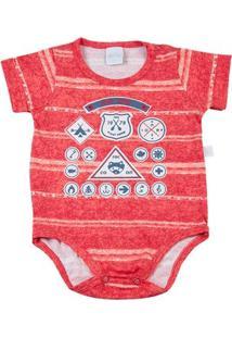 Body Bebê Malha Estampada Scoutcamp - Masculino-Vermelho