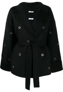 P.A.R.O.S.H. Belted Eyelet-Embellished Coat - Preto
