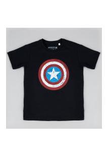 Camiseta Infantil Capitão América Manga Curta Gola Careca Preta
