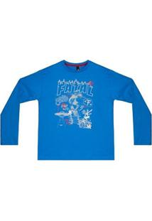 Camiseta Infantil Fatal Since Manga Longa - Masculino-Azul