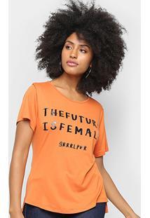 Camiseta Morena Rosa The Future Is Female - Feminino-Marrom