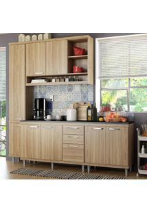 Cozinha Compacta 8 Portas Sicília Com Tampo 5813 Argila - Multimóveis