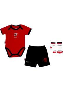 Kit Body Manga Curta Reve D Or Sport Short E Meia Flamengo Vermelha E Preta 31d1509b0cc25