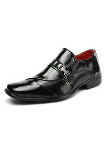 Sapato Social Preto Liso Verniz Fashion Confortável Elegante Life Rock