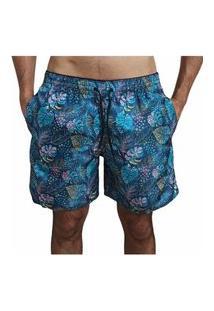 Bermuda Short Moda Praia Opice Estampado Azul Flores