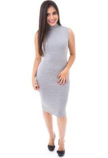 Vestido Moda Vicio Midi Justo Gola Alta - Feminino-Cinza