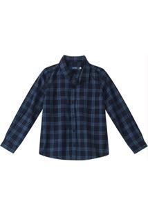 Camisa Azul Xadrez Em Tricoline Menino