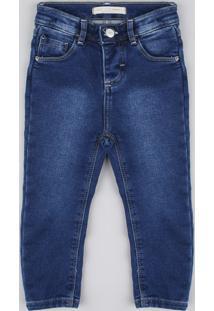 Calça Jeans Infantil Em Moletom Azul Escuro