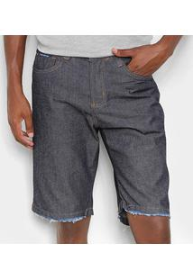 Bermuda Jeans Ecxo Básica Masculina - Masculino-Azul Escuro