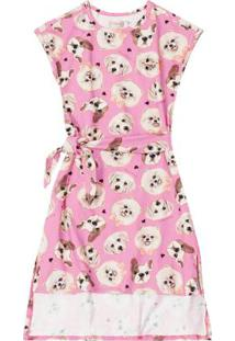 Vestido Rosa Midi Cachorrinhos