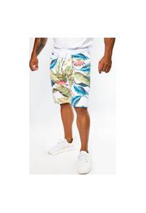 Bermuda Short Moletom Floral Summer Premium Multicolor
