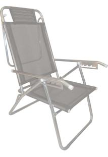Cadeira Praia Reclinável Zaka Infinita Up Alumínio Até 100 Kg Cinza