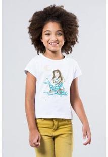 Camiseta Iara Pintura Reserva Mini Feminina - Feminino-Branco
