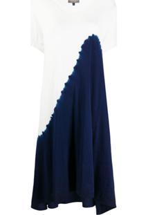 Suzusan Vestido Assimétrico Bicolor - Branco
