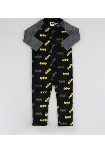 Pijama Macacão De Fleece Infantil Batman Manga Longa Preto
