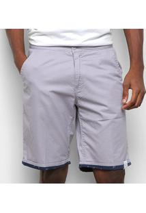 Bermuda Sarja Gajang Básica Masculina - Masculino-Cinza