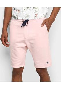 Bermuda Acostamento Moletom Masculina - Masculino-Rosa