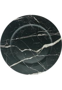 Jogo De Sousplat Marble- Preto & Cinza Claro- 6Pçsbon Gourmet