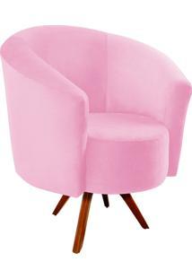 Poltrona Decorativa Angel Suede Rosa Bebê Com Base Giratória Madeira - D'Rossi