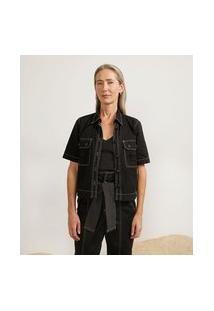 Camisa Em Sarja Com Bolsos Utilitários E Pespontos Contrastantes | Cortelle | Preto | Pp