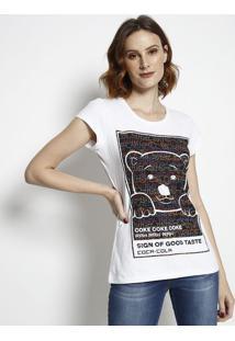 Camiseta Urso Com Aroma- Branca & Preta- Coca-Colacoca-Cola