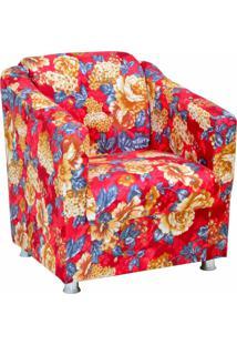 Poltrona Decorativa Lyam Decor Laura Vermelho Estampado