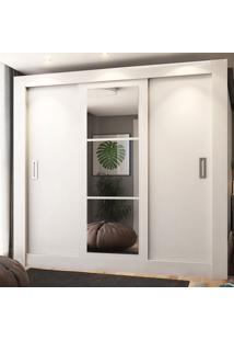 Guarda-Roupa Casal 2 Metros 3 Portas De Correr Com Espelho Londres Plus Branco - Pnr Móveis