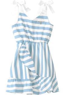 Vestido Azul Listrado Menina