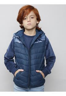 Colete Puffer Infantil Camuflado Com Gorro Azul Marinho