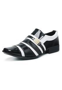 Sapato Social Masculino Envernizado Confortável Preto/Branco