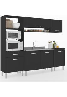 Cozinha Compacta Uccelli 6 Portas 1 Gaveta 600072 Preto - Vedere