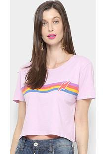 Camiseta Cantão Baby Look Listras Vintage Feminina - Feminino-Lilás