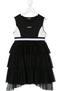 Dkny Kids Vestido Color Block Com Tule - Preto
