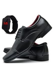 Sapato Social Masculino Db Now Com Relógio Led Dubuy 807Od Preto