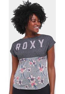 Camiseta Roxy Vintage Hello Girl Feminina - Feminino-Chumbo